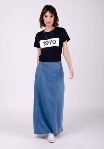 Casual long denim skirt
