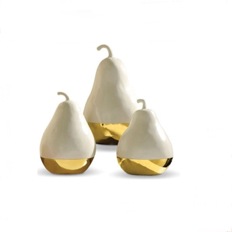 Gold Dipped Pear Figurine