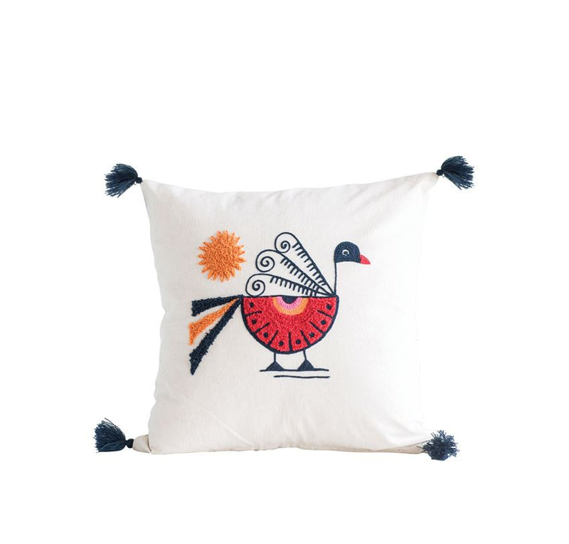 "18"" Square Cotton Pillow w/ Embroidered Peacock & Tassels"