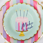 Make a Wish Cake with Candles Multi Color Gold Dessert Plate-Bowl