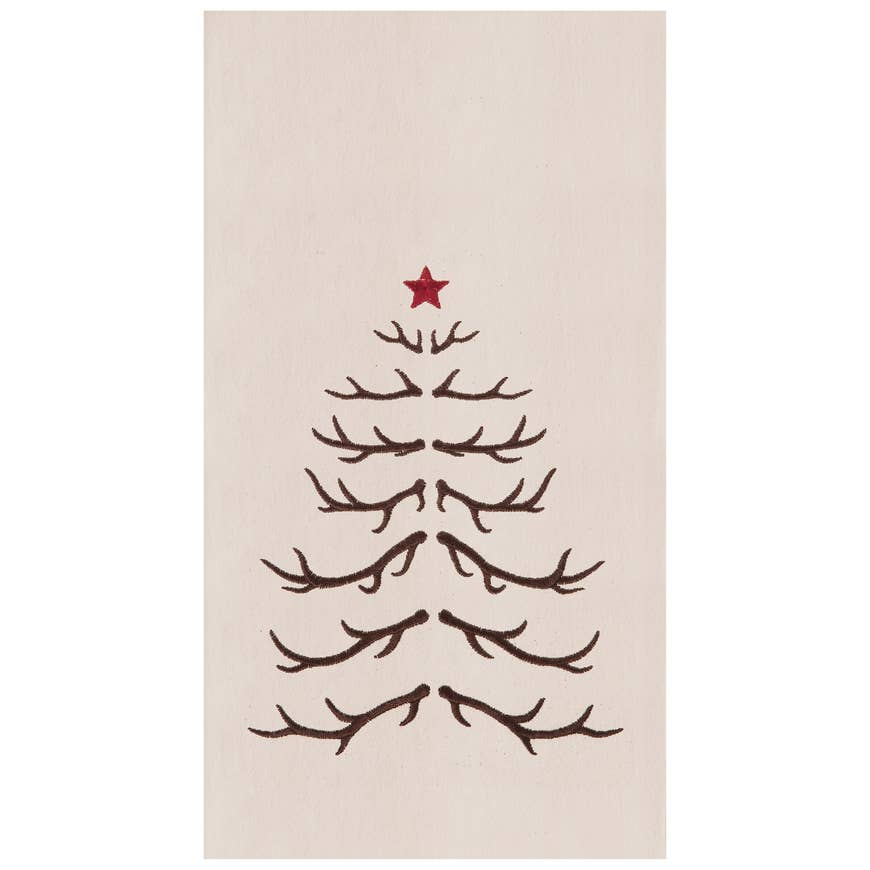 Antler Tree Embroidered Flour Sack Kitchen Tea Towel