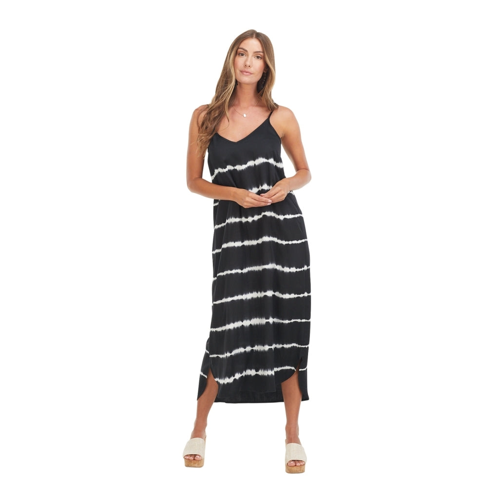 Amma Black Tie Dye Midi Dress - Medium