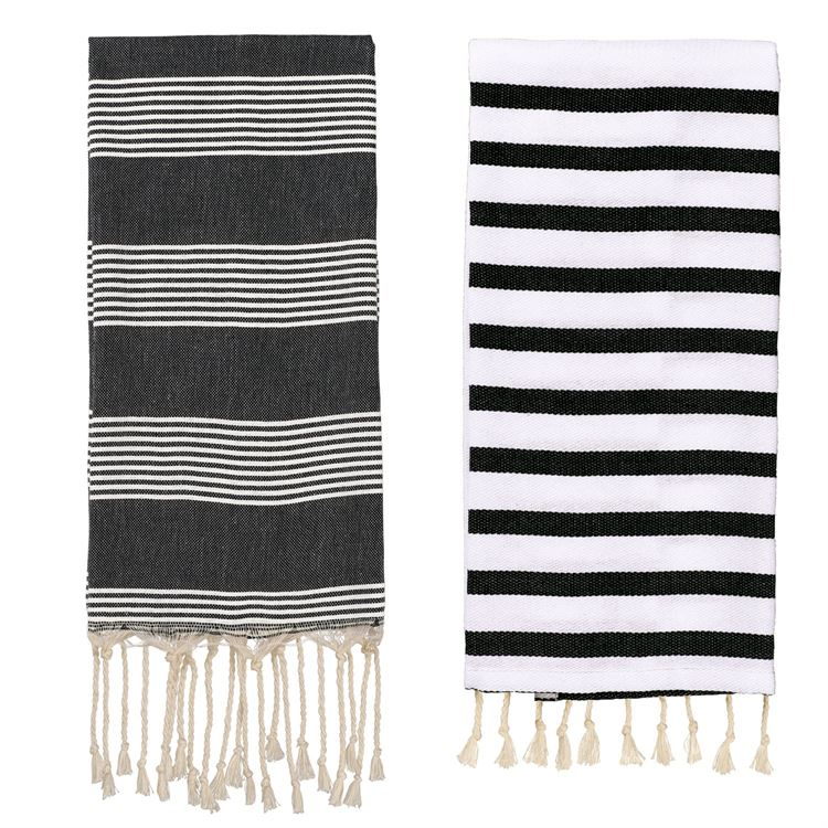 Black and White Stripes Hand Towels
