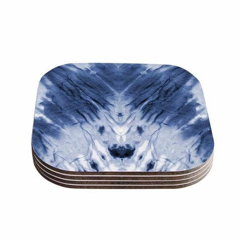 Blue Dye Coasters Set / 4