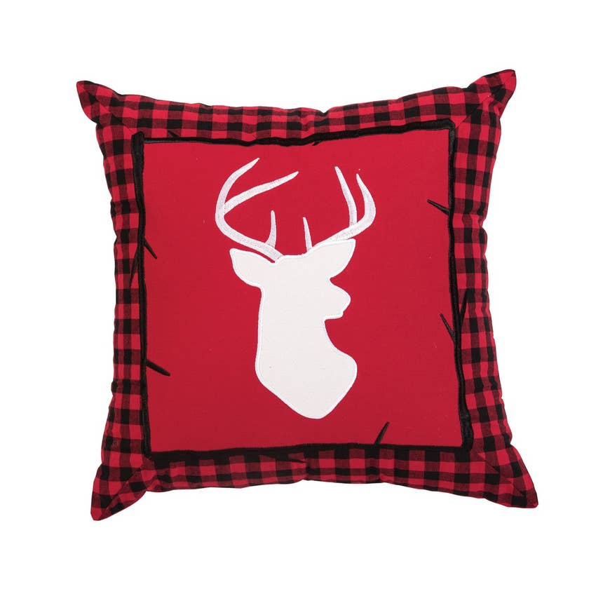 "Buffalo Check Deer 18"" Applique Pillow"