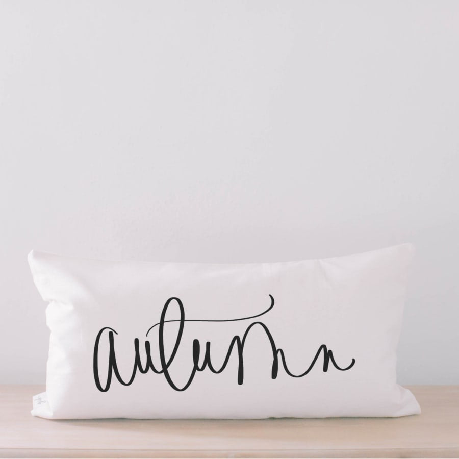 Autumn Calligraphy Lumbar Pillow