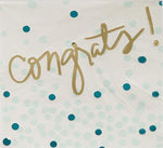 Congrats! Blues & Gold Bubbly Beverage Napkins