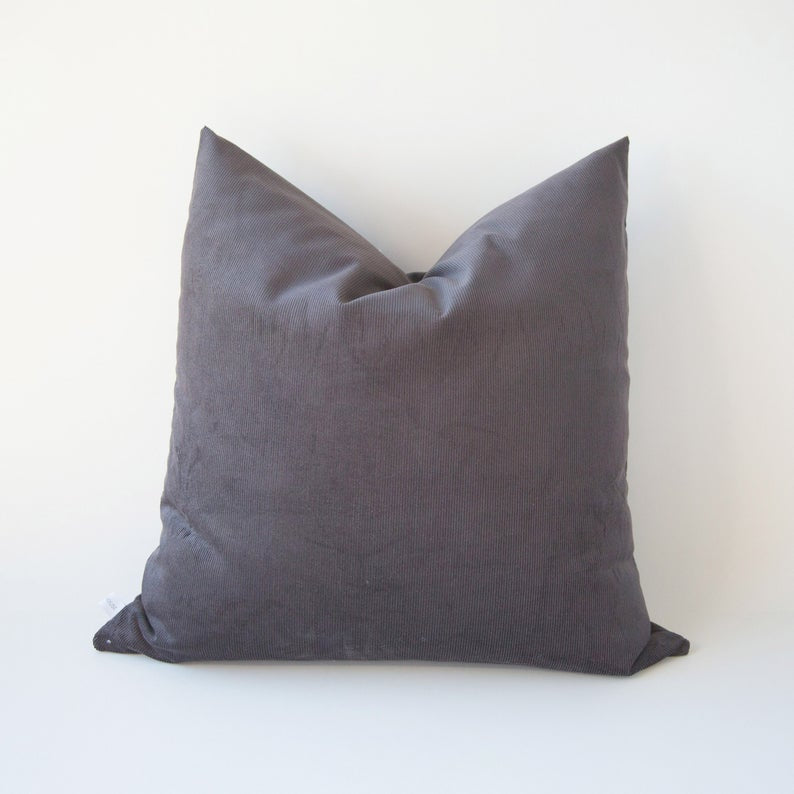 "Charcoal Corduroy 20"" Pillow"