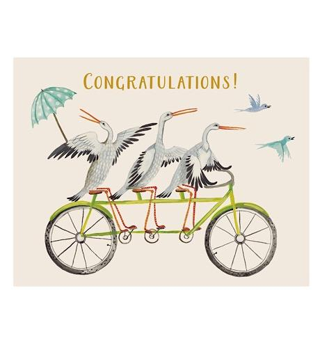 Congratulations Storks on Bikes Greeting Card