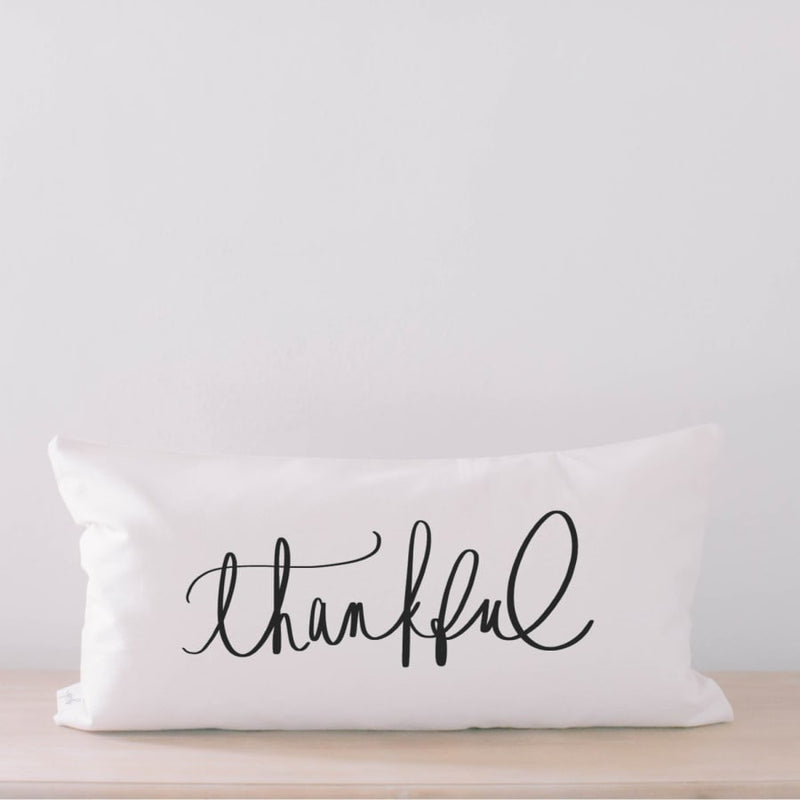 Thankful Calligraphy Lumbar Pillow