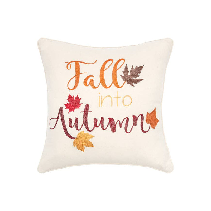"Fall Into Autumn 20"" Embroidered Pillow"
