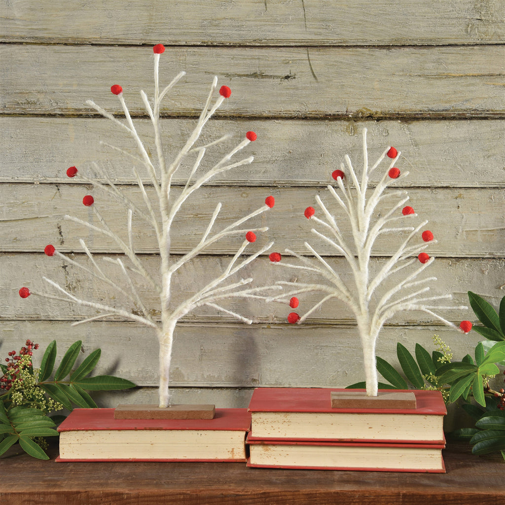 Felt White & Red Winter Trees