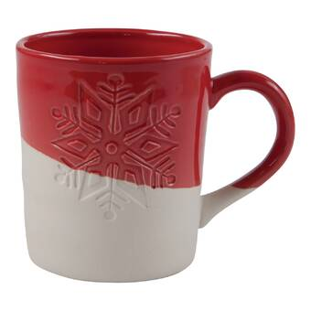Red Dipped Winter Snowflake Mug