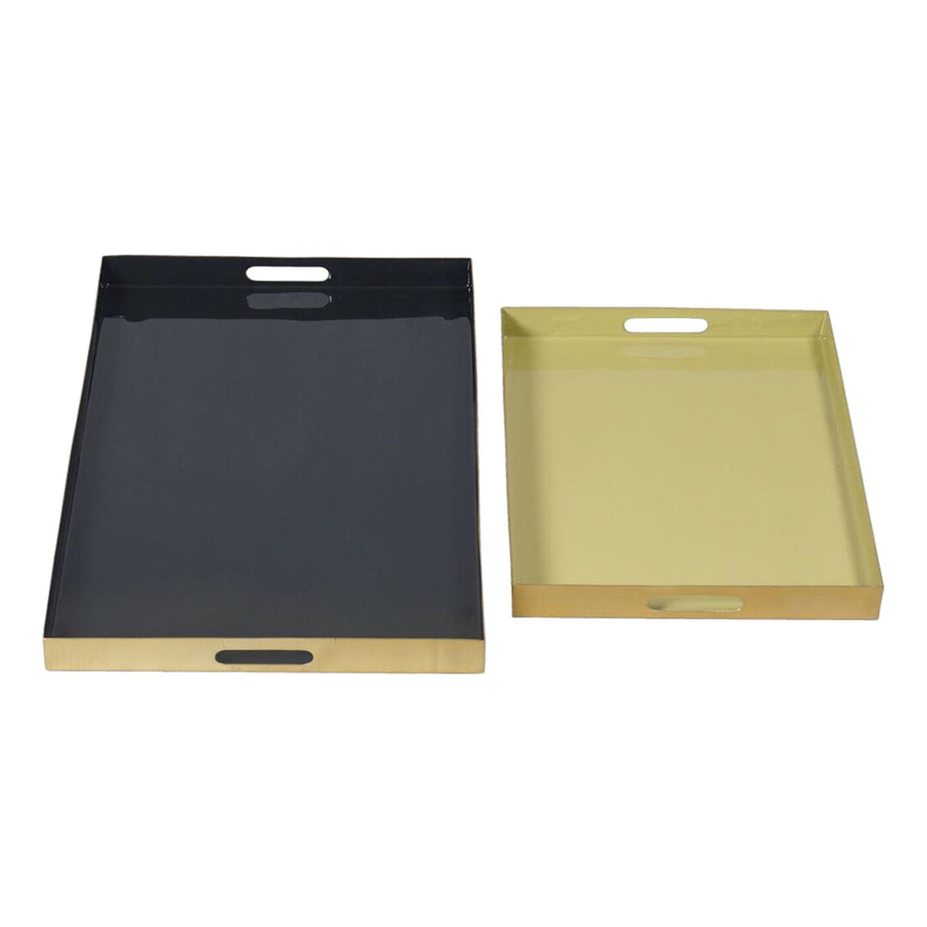 Set of 2 Gold Black and Olive Green Decor Trays