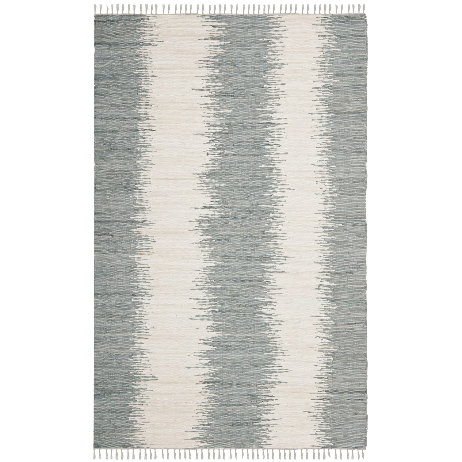 Grey Bohemian Hand Woven Cotton Area Rug 5x8