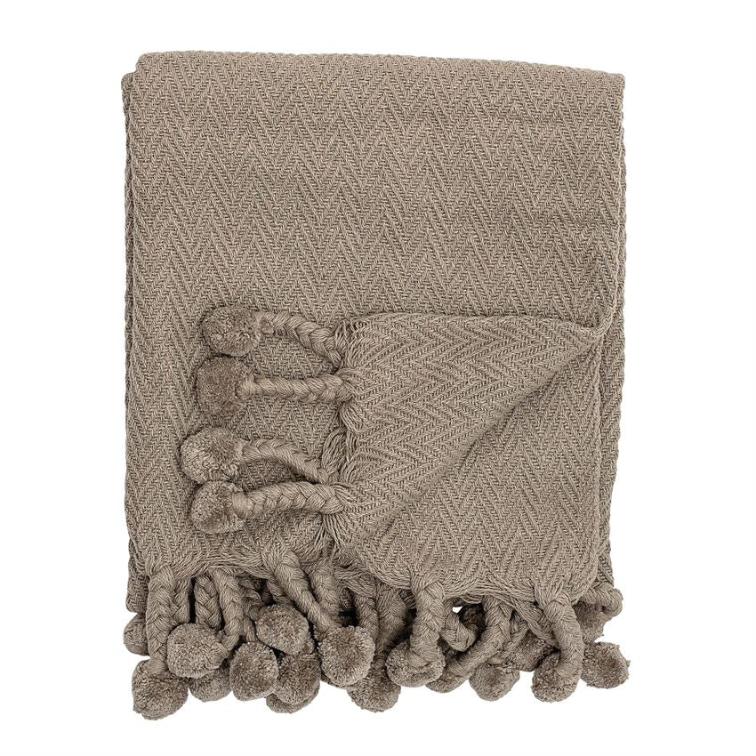 Taupe Cotton Woven Throw w/ Pom Poms