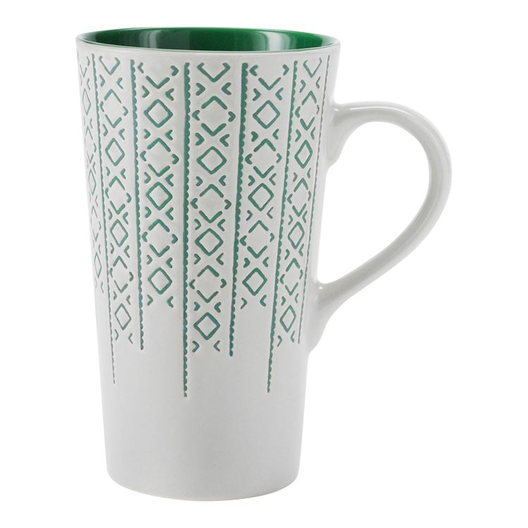 Green & White Winter Latte Mug