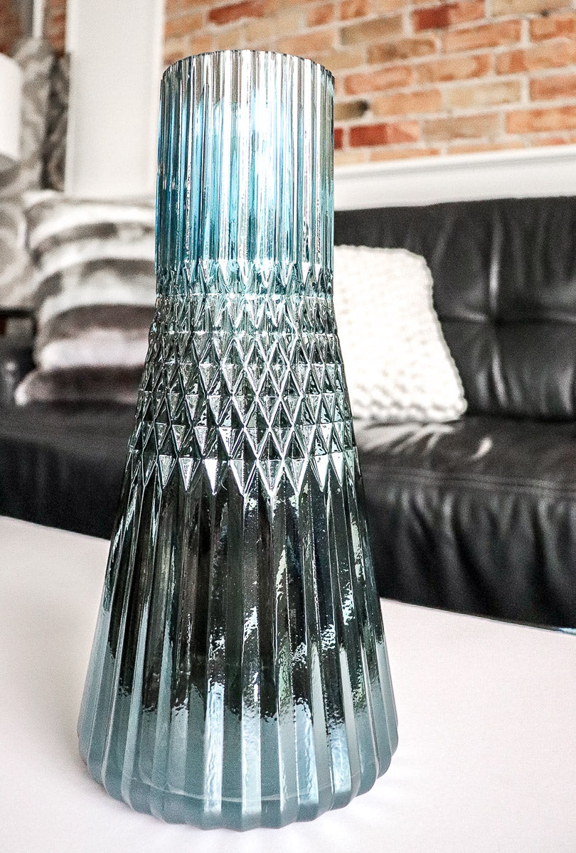 "Tereza Tapered 12"" Blue Glass Vase"