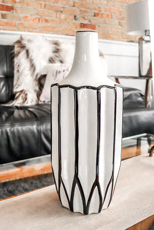 "Abstract Linear Black and White 12"" Vase"