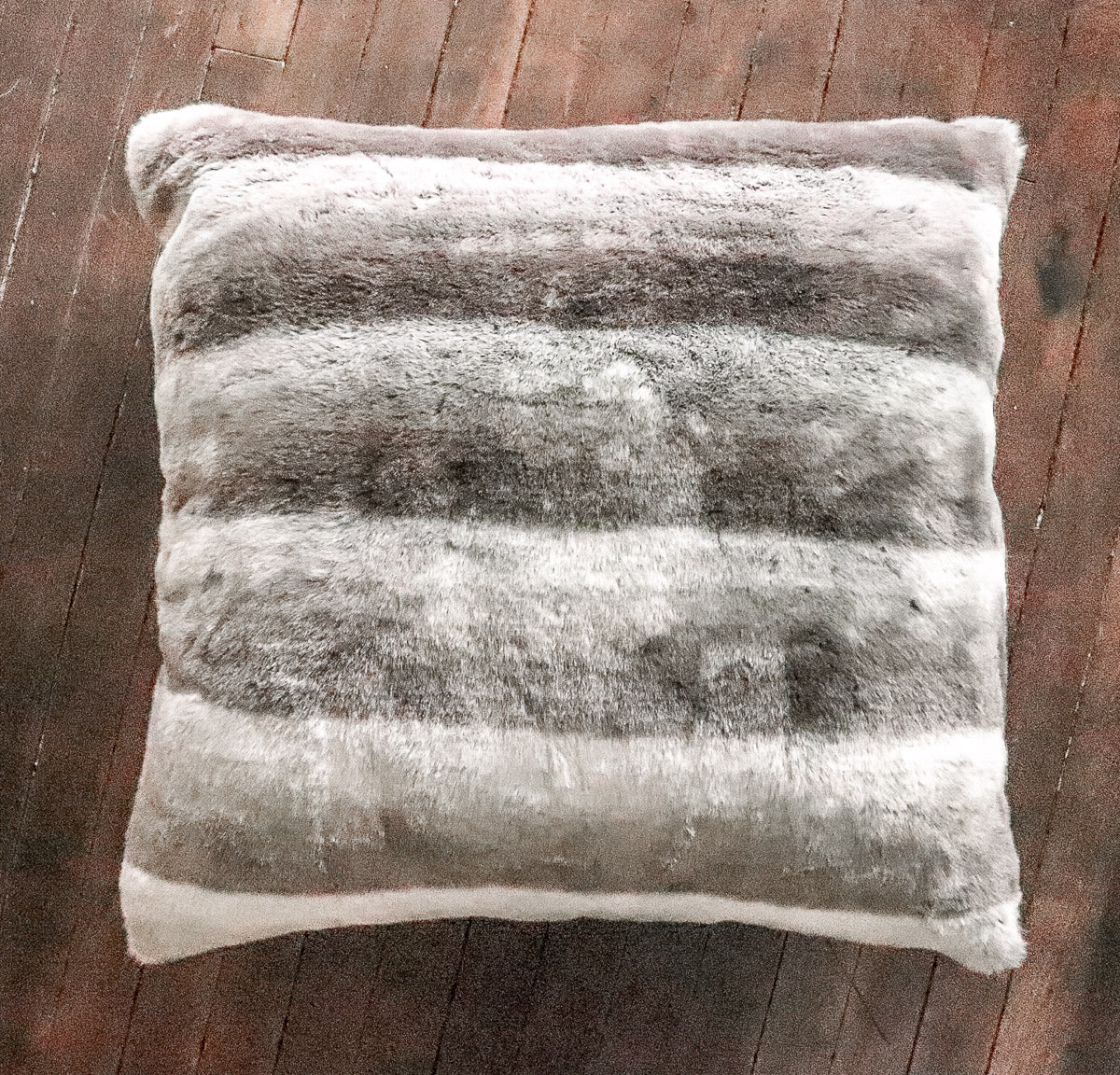 "Faux Fur Shades of Grey Large 24"" Pillow"