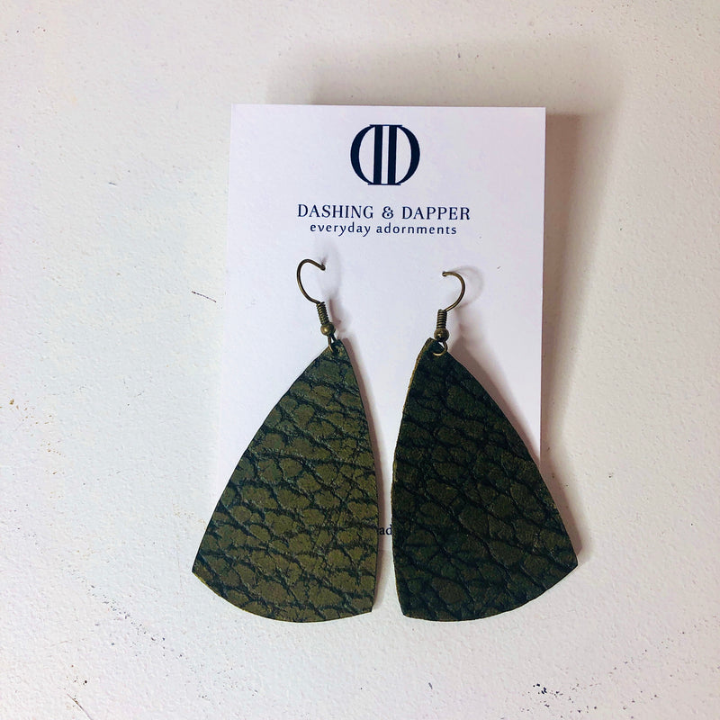 D&D Medium Leather Earrings - Textured Army Green