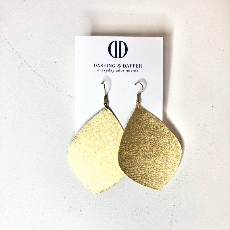D&D Large Leather Earrings - Gold