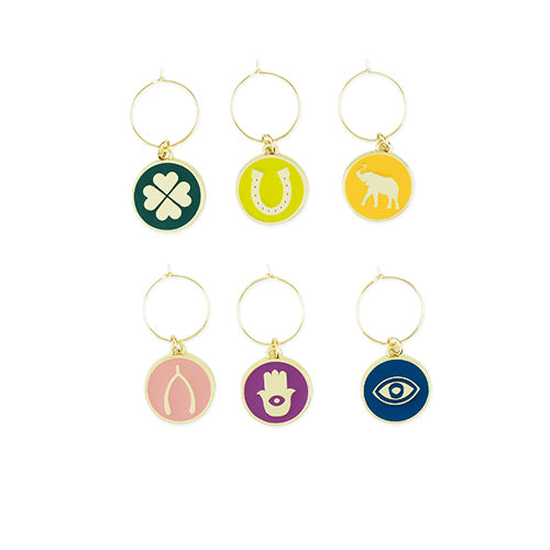 Lucky Symbol Wine Charms