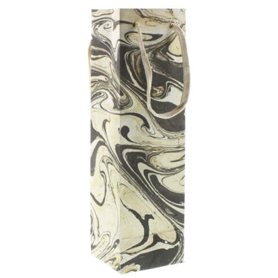 Grey Marbleized Paper Wine Bag