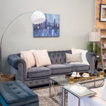Blue Grey Velour Tufted Sofa