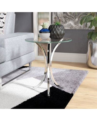 Modern Glass and Metal End Table