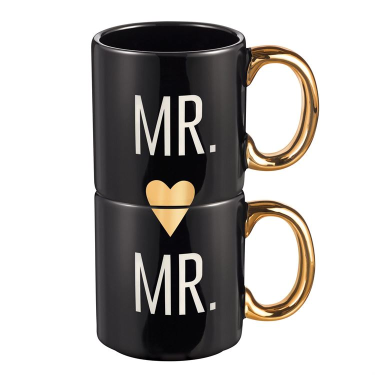 Mr. and Mr. Couple Mugs, Set of 2