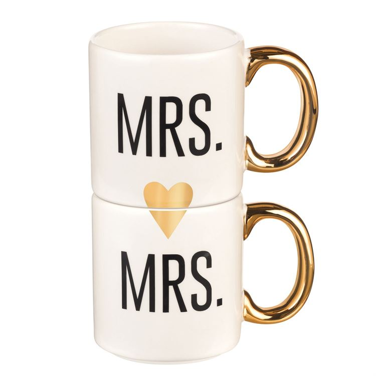 Mrs. and Mrs. Couple Mugs, Set of 2