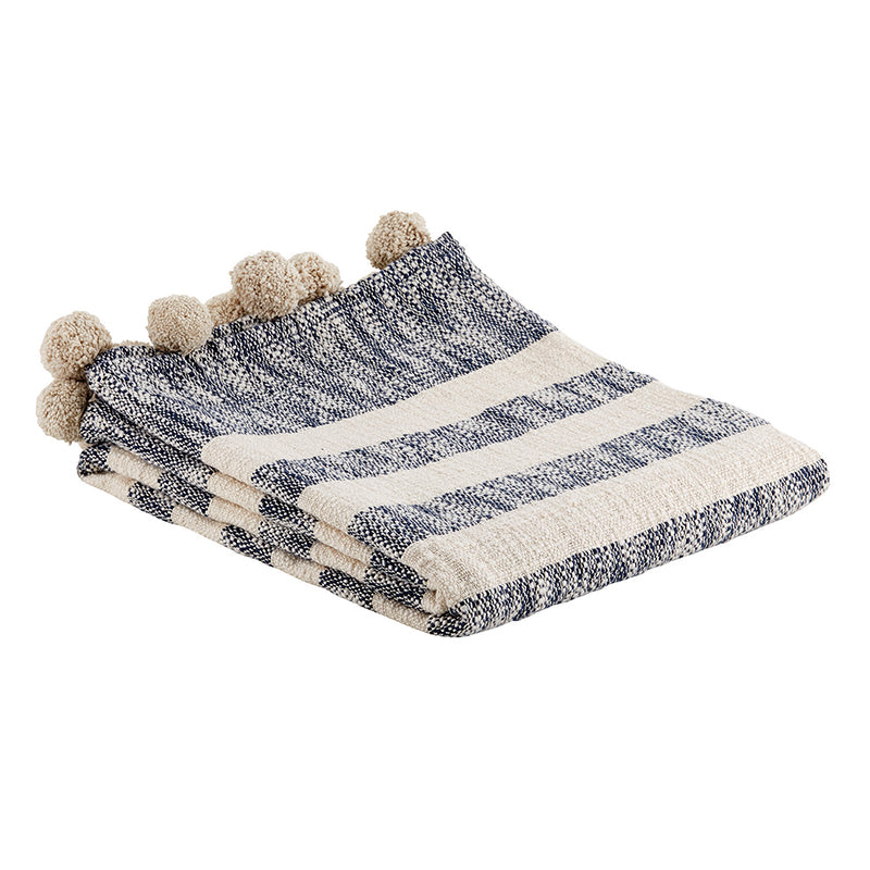 Navy and Ivory Striped Pom Throw Blanket