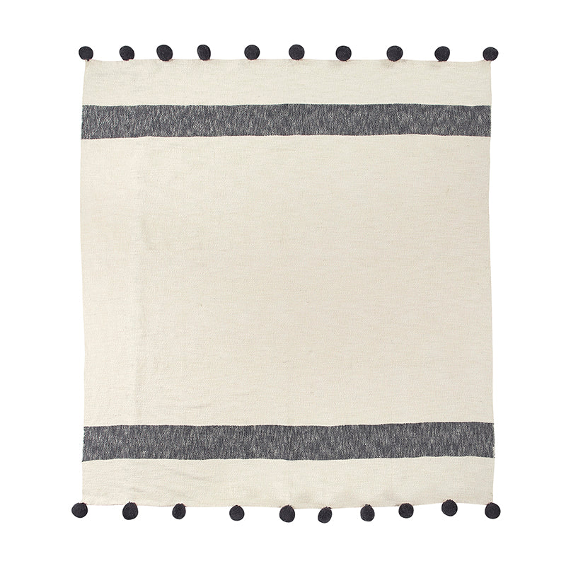 Ivory with Navy Stripe Pom Throw Blanket