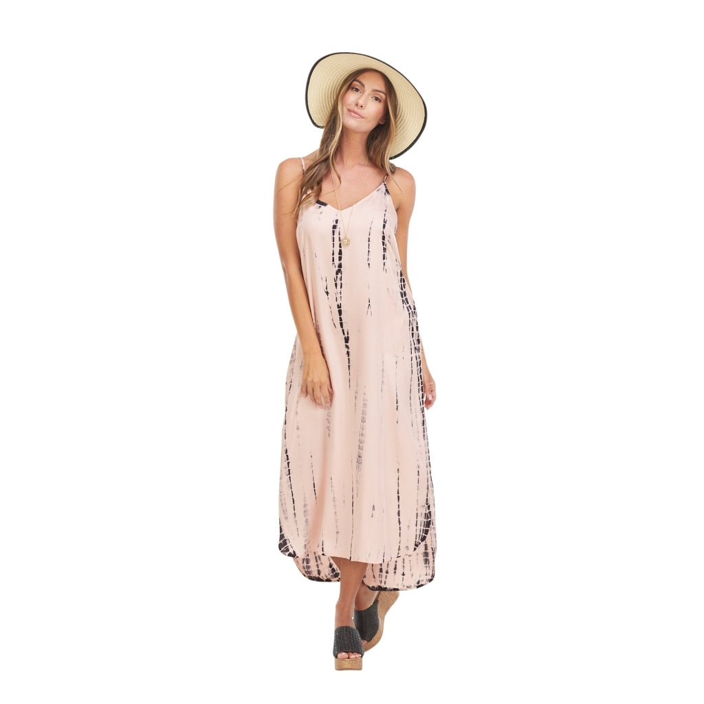Amma Pink Tie Dye Midi Dress - Medium
