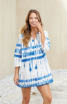 Lacey Blue Tie Dye Pom Pom Cover Up - Medium
