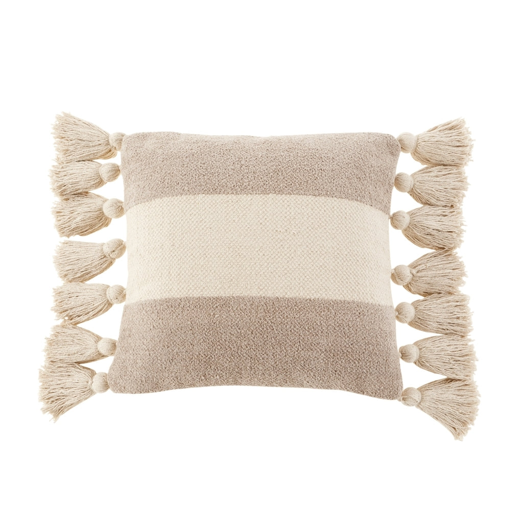 Striped Square Tassel Pillow