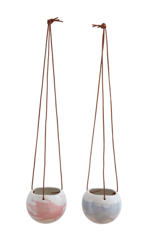 Stoneware Hanging Flower Pot w/ Leather Strings