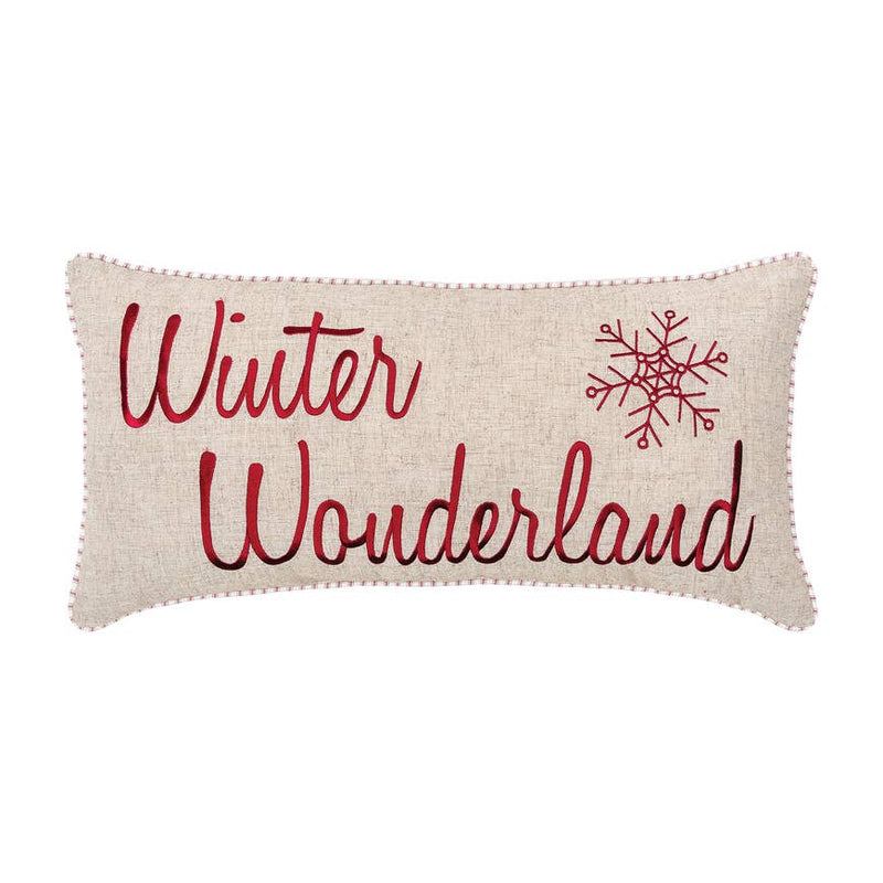 Winter Wonderland 12 x 24 inch Embroidered Pillow