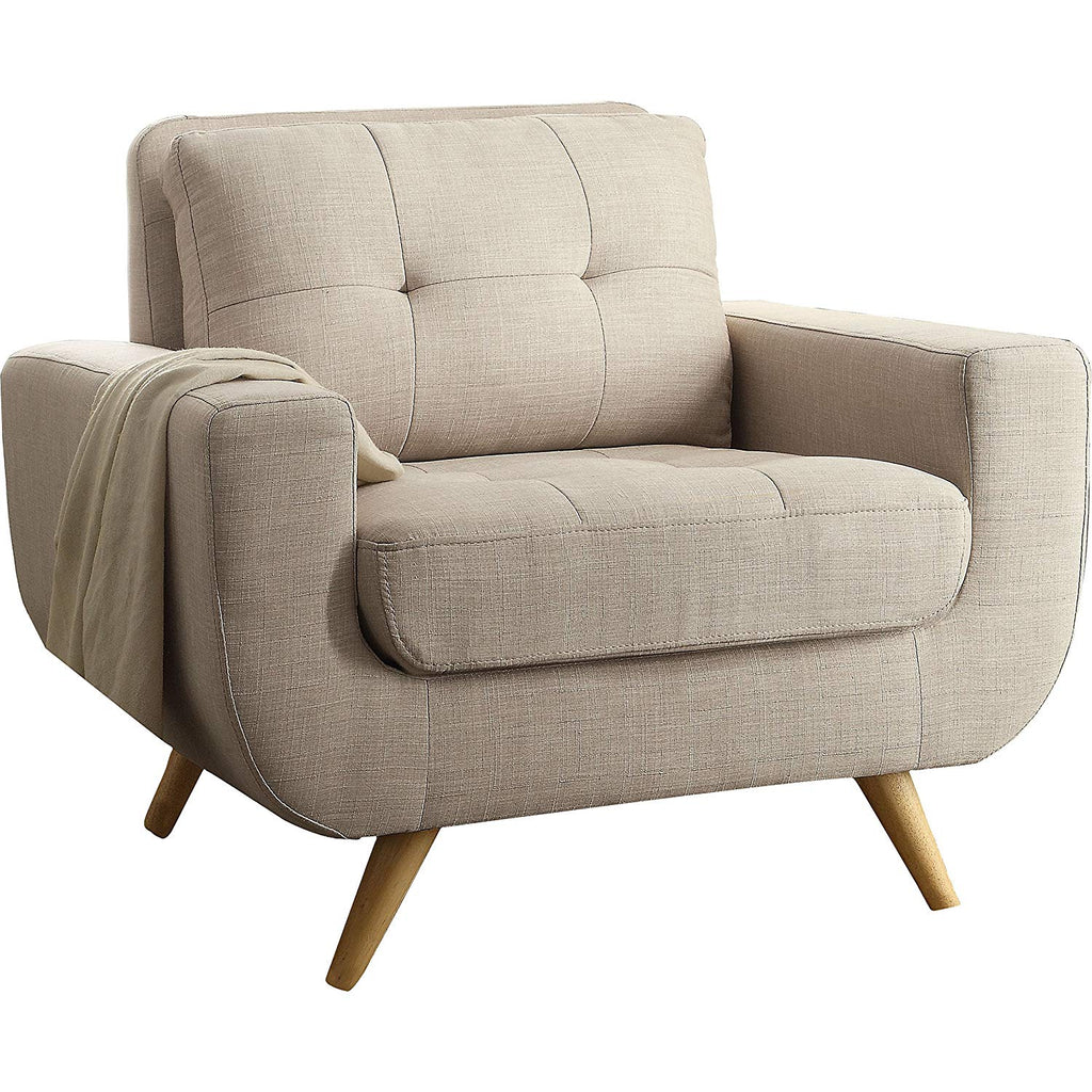 XL Modern Beige Linen Arm Chair