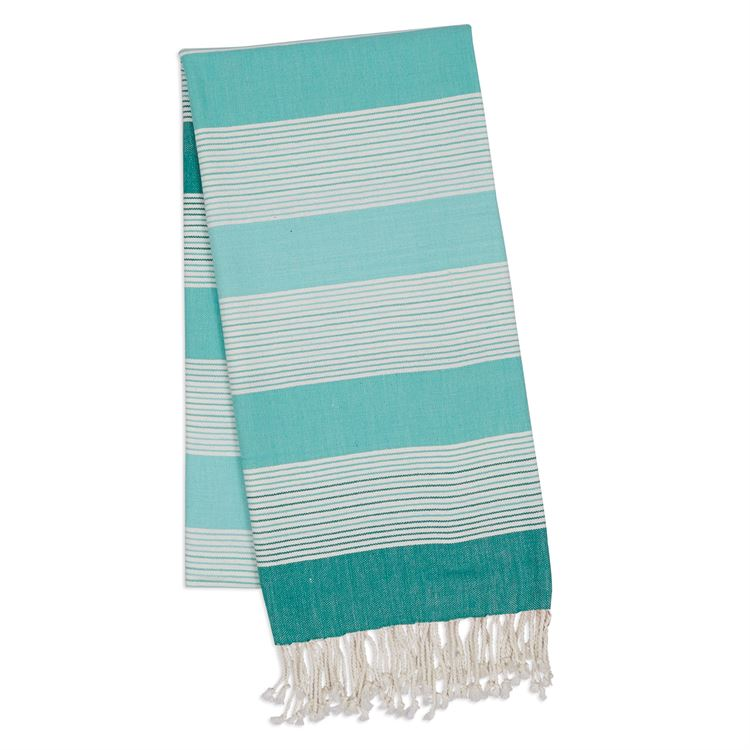 Aqua Blue & White Striped Fouta Towel