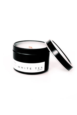 Aydry wooden wick candle tin in white tea