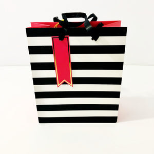 Gift Bag - Black and White Striped