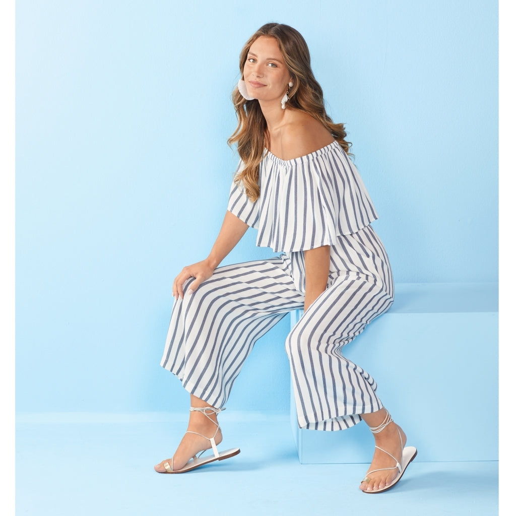 Olsen Blue Stripe Jumpsuit - Medium