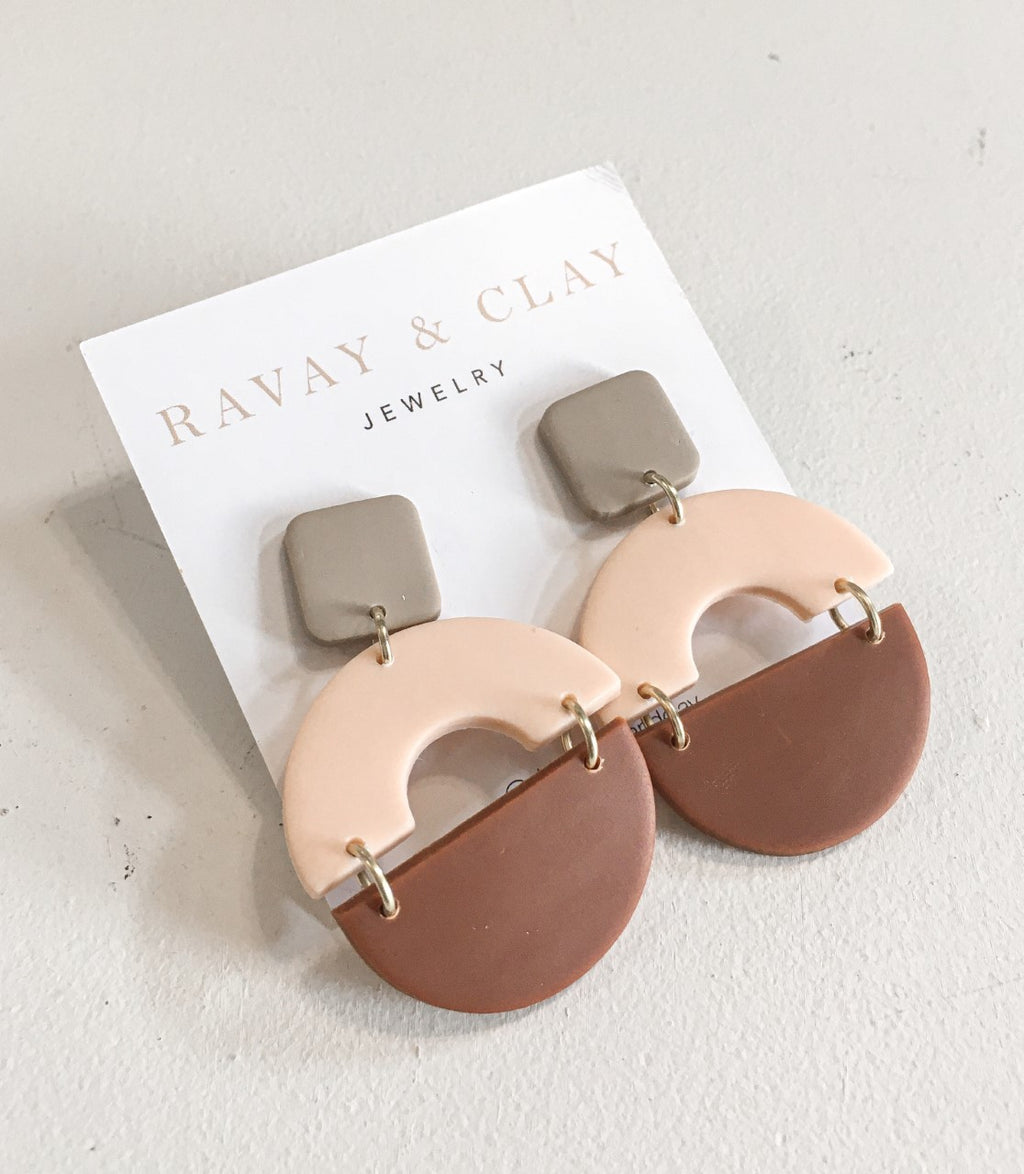 Brown Peach Arch Semicircle Clay Earrings