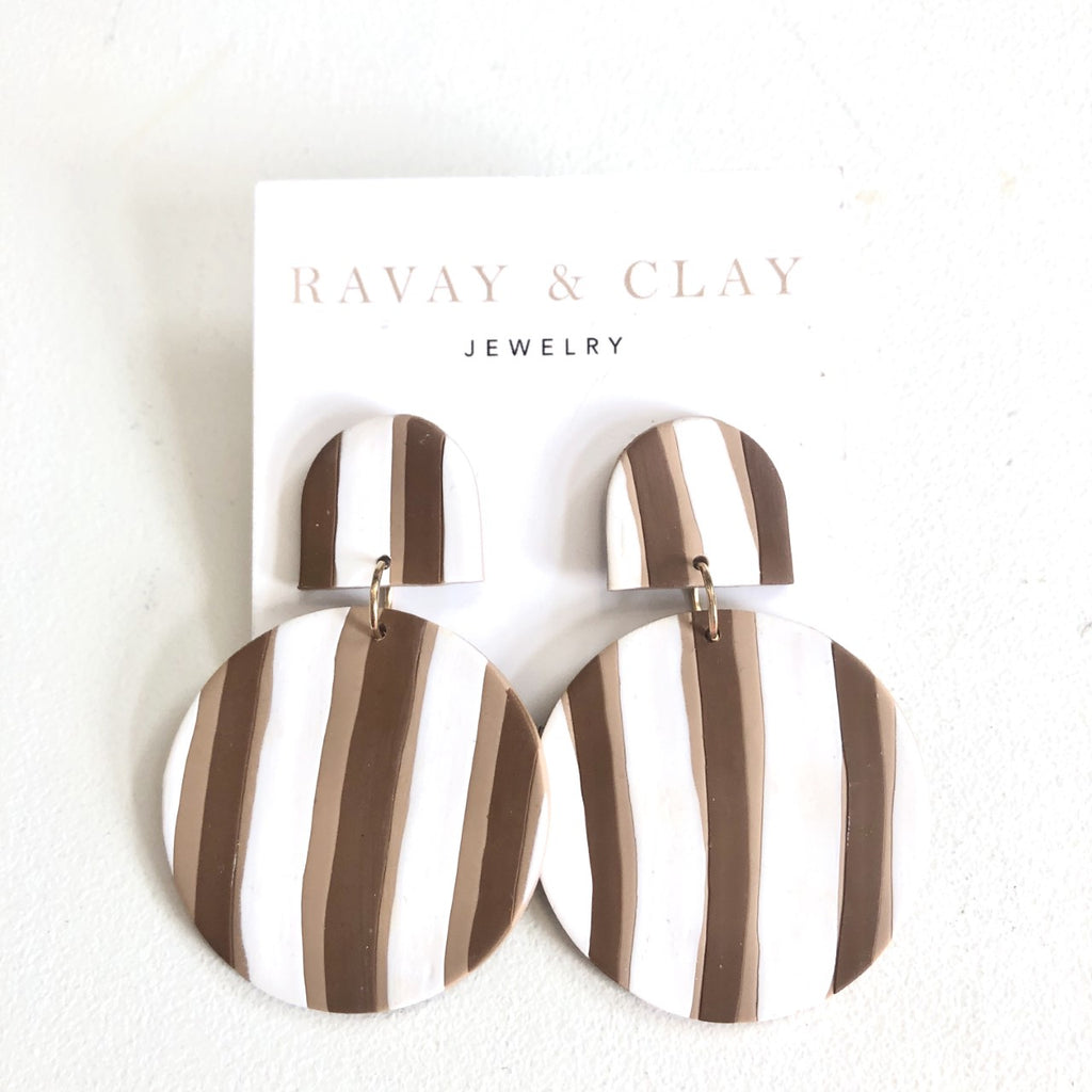 Brown White Striped Disc Clay Earrings