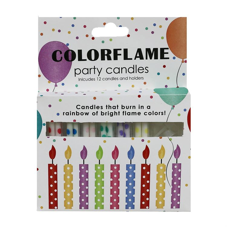 Color Flame Birthday Cake Candles- 12 pack