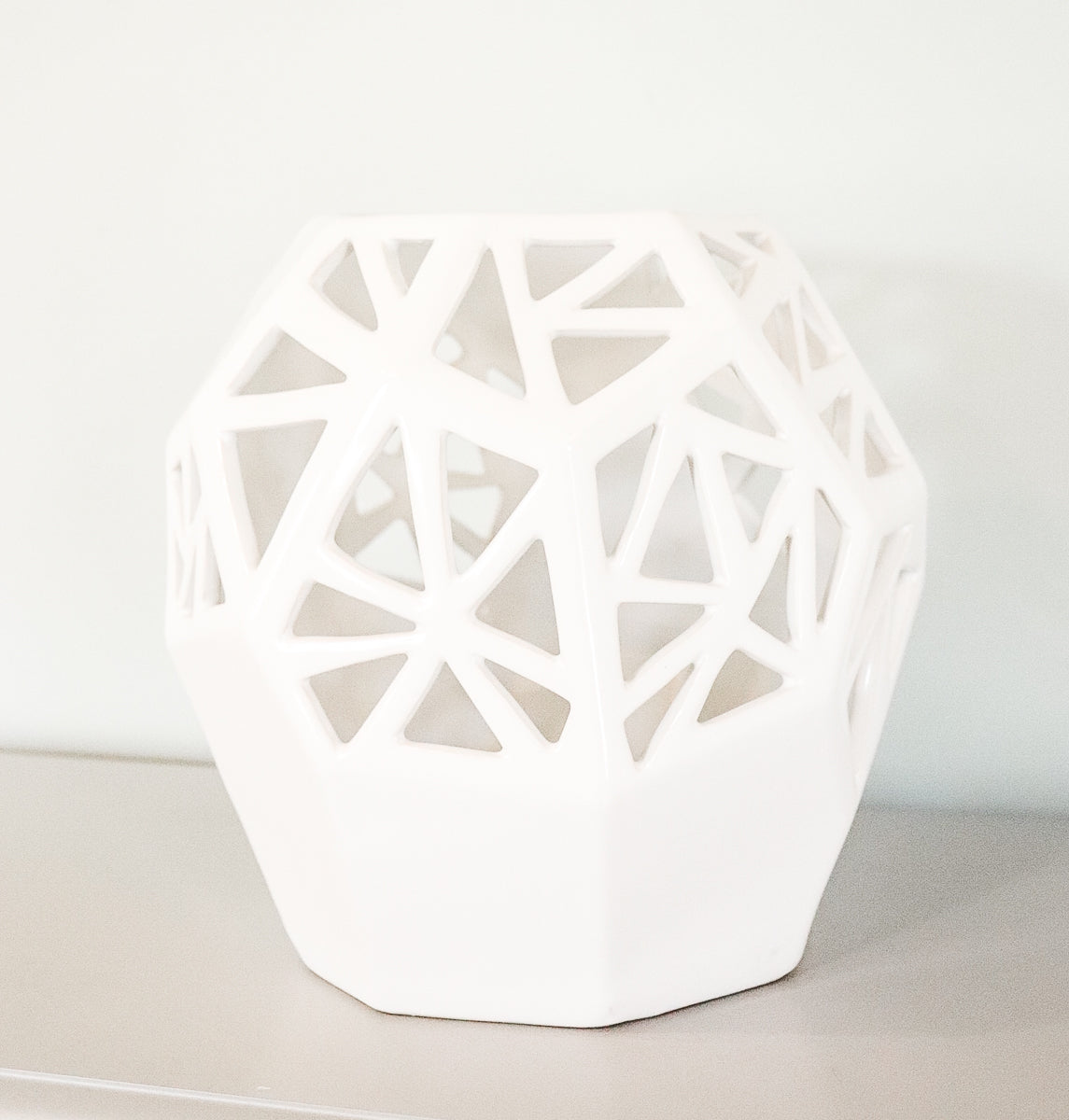 White Chunky Geometric Cut Out Vase
