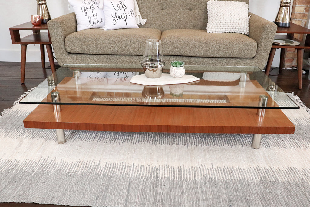 Modern Glass and Wood Coffee Table