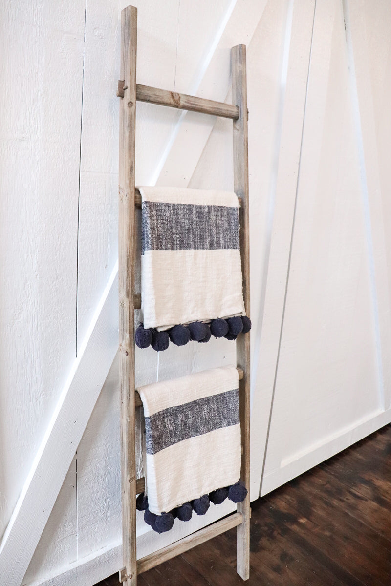 Rustic Wood Leaning Blanket Ladder